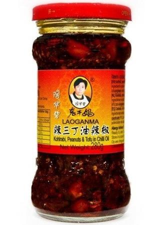 Kalarepa z orzechami ziemnymi i tofu w oleju chili 280g - Lao Gan Ma