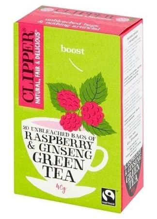 Zielona herbata organiczna Clipper z maliną i żeń-szeniem, 20 saszetek